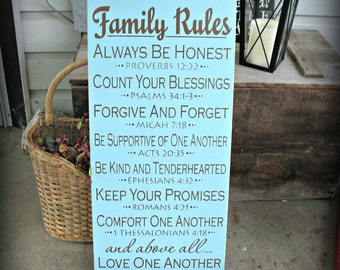 Family Rules -- Painted Wooden Typography Art Sign
