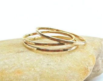 Set of Three 14K Gold Filled Rings, Thin Hammered Rings, Stacking Rings, 3 Faceted Gold Rings, Slim Gold Band, Stackable Rings