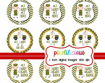 Bottle Cap Image Sheet - Instant Download - Sheriff Daddy -  1 Inch Digital Collage - Buy 2 Get 1 Free