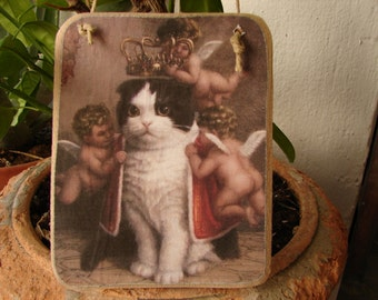 Gorgeous cherubs crowning cat, shabby chic vintage wooden tag to hang on dresser or door knob