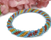 Crochet Bead Bangle Bracelet Blue Gold Mahogany