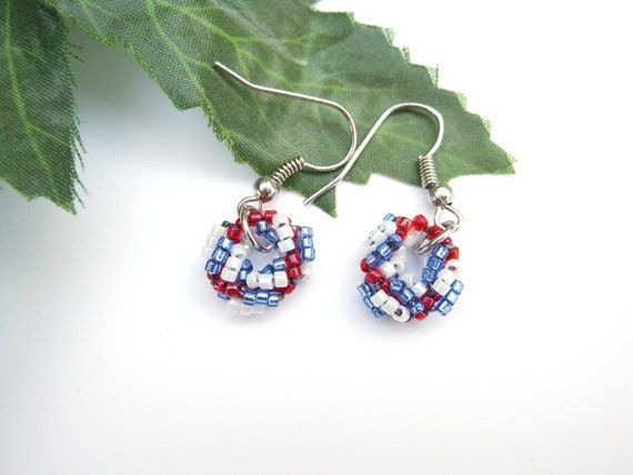 Handmade Beaded Small Wreath Earrings