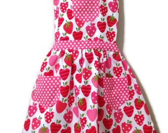 Retro Style Apron, Children's Apron, Little Girl Apron, Cooking Apron, Toddler Apron, Strawberry Apron, Girl Apron, Baking Apron, Kids Apron