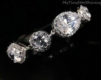 Bridal Bracelet Wedding Bracelet White Clear Teardrop Round Cubic Zirconia Bracelet White Crystal Bracelet Wedding Jewelry Diamond Look