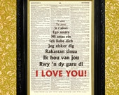 I LOVE YOU in eleven languages, Dictionary Page Print, Upcycled Book Page Art