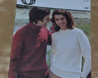 vintage knitting pattern sirdar 5994 dk for mens or  ladys crew and Polo Kneck Sweater