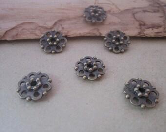 50pcs of Antique bronze flower Pendant charm connector 11mm