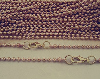 20pcs  2.4mm Pale golden color ball necklace chain with Lobster Clasp 68cm