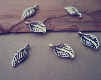 50pcs  Antique silver leaf charm pendant  8mmx15mm