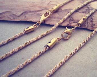 10pcs 63cm multicolour gold color (copper ) necklace chain 2mmx2mm