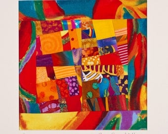 SAMBA: Yellow Red Blue Art Quilt Signed by The Artist, Matted for Framing/FREE SHIPPING