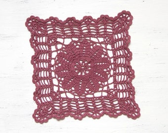 Dark red square Crochet Doily Vintage hand dyed doily