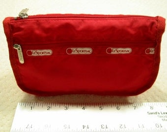 vintage  red LeSportsac  makeup case/cosmetic bag - like new