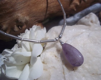 Amethyst & Sterling silver teardrop necklace