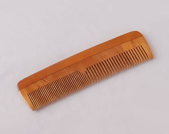 "Handcrafted Neem Wood Comb - Anti Dandruff, Non-Static and Eco-friendly- Great for Scalp and Hair health -7"" Coarse-Fine Combo toothed"