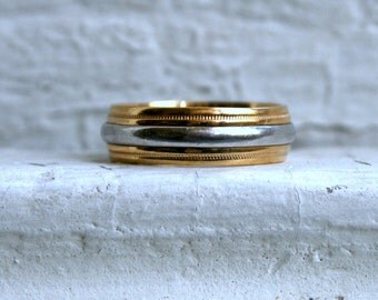 Classic Vintage 18K Yellow/Platinum Wedding Band by Art Carved.