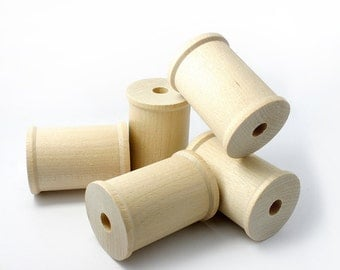 """Set of 5 Large Wood Spools, 2 1/8"""" by 1  1/2"""", large spools for ribbon, made in USA"""