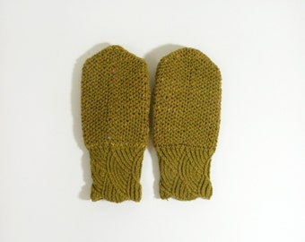 Hand Knitted Mittens - Olive Green, Size Small