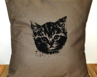 Kitten Pillow Cover for 16''x16'' Cushion Screen Printed Cat Head