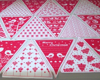 DE*STASH - Precut Christmas/Holiday Banner Triangles - 100% Cotton Print Fabric- 54 Pieces