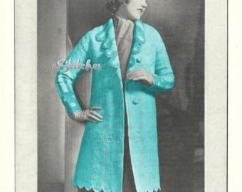 1930s Medallion Sports Coat, Knee Length - Crochet pattern PDF 5040