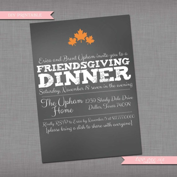 items similar to chalkboard friendsgiving invitation