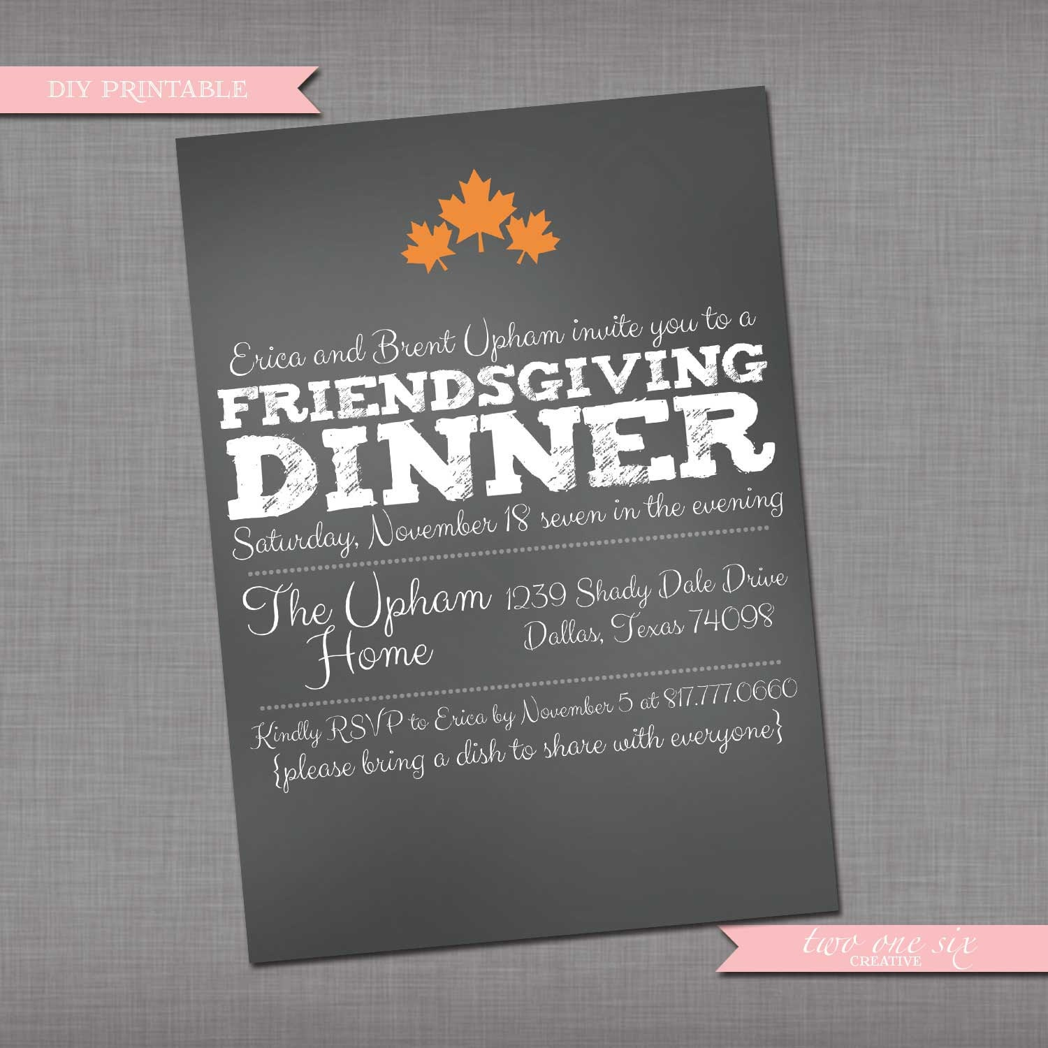 chalkboard friendsgiving invitation fall by twoonesixcreative