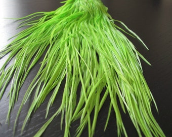 Metz Rooster Saddle Hackle #2 - Dyed Chartreuse Color - Hair Extension Feathers