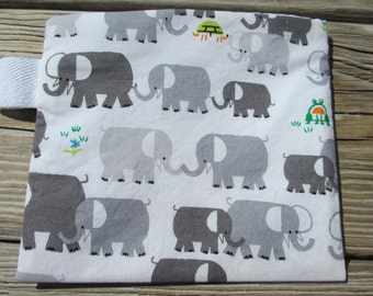 Reusable Snack Bag with Velcro Closure: Happy Elephants