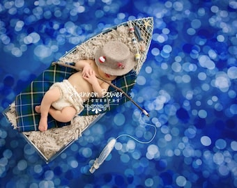 5ft x 5ft + Photography Backdrop - Navy Bokeh, Water, Blue Backdrop