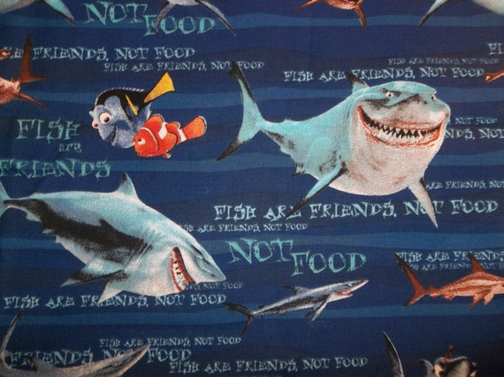 Finding nemo dory bruce sharks fish are by destachdepotfabrics for Fish are friends not food