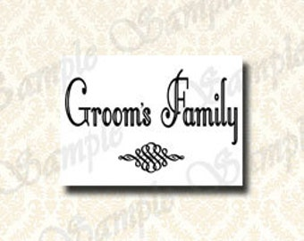 Grooms Family Reserved Sign, Printable Wedding Party Ceremony Signage - Reserved Seating Sign, Wedding Dressing Room Sign 5x7 / 8x10 - 144