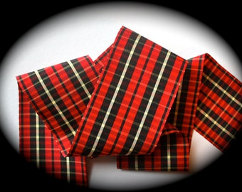 """Wallace  Plaid in  2 7/8 """" x 1 yard - Red, Black, Yellow  Rayon/cotton/acetate blend"""