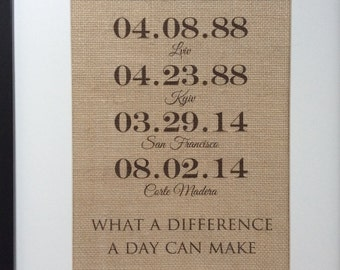 """Personalized Burlap Wedding Gift - 8"""" x 10"""" - Special Dates - Engagement, Shower, Wedding - What A Difference A Day Can Make"""