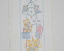 Finished / Completed Cross Stitch - Lanarte - Birth Sampler - Clock with animals crossstitch counted cross stitch