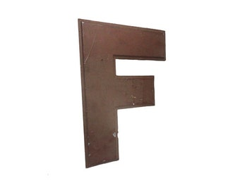 CLEARANCE Vintage Sign Letter 'F' - Vintage Industrial Advertising Sign Letter, Reclaimed Initial, Capital Letter, Rustic Initial Letter F,
