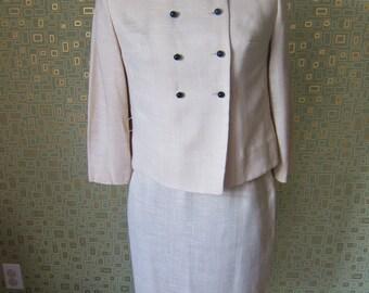Vintage 1960's Women's Cream Suit - Pencil Skirt and Jacket Set