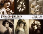 ON SALE!!! Set of 40 Digital Vintage Children Postcards as JPG files to download instantly restored by Jodie Lee.