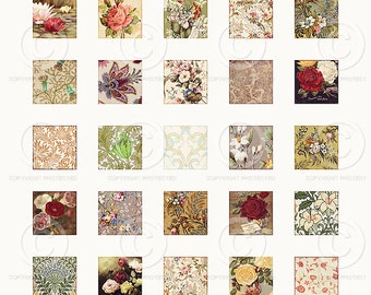 Printable Vintage Flower Inchies Collage Sheet as a JPG file to download instantly by Jodie Lee