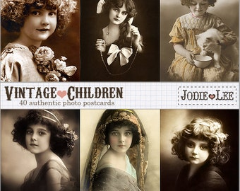 ON SALE!!! Set of 40 Digital Vintage Children Postcards as JPG files to download instantly restored by Jodie Lee.