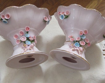 Pair Lefton Handpainted Light Pink Candle Holders c1950's