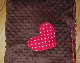 Baby Throw Blanket - Brown minky with red heart Print with Heart