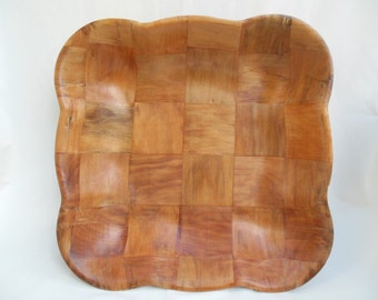Large Square Wooden Bowl Parquet Woven Wood Checkerboard Dish