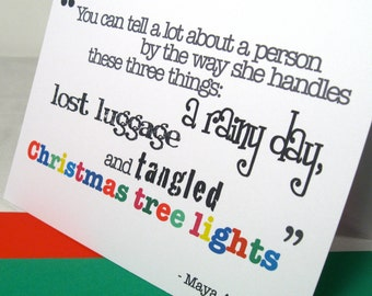 Friendship Card Set of 6, Maya Angelou Quote, Tangled Christmas Tree Lights, Best Friends Greeting, Patience Lost Luggage Rainy Day - MAN101