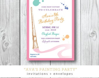 Ava's Painting Party | Birthday Painting Party Invitation | Printed or Printable by Darby Cards
