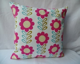 """Clearance 16"""" Handmade contemporary modern retro white and pink daisy flowered cushion cover, pillow, pillow case, scatter cushion."""