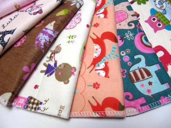 Cloth Napkins, 10 Girls Animal Napkins, Unpaper Cloth Napkins, Lunchbox Napkins, Eco Friendly Children's Napkins