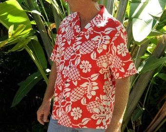Vintage Men's S/S Red & White Tropical Hawaiian Shirt, Made in Hawaii, size L