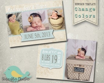 Baby Girl Announcement PHOTOSHOP TEMPLATE - Baby Girl 004