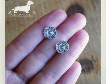 CLEARANCE! Ice Ice. Post Earrings -- (Vintage Style, Clear, Rustic, For The Bride, Wedding, Bridesmaid Gift, Classic, Wedding, Gift Under 5)